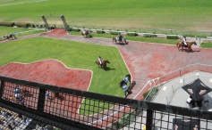 Birds eye view of the area the jockeys mount the horses