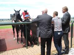 Jockey wins and stands by the #1 gate